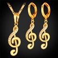 Collar de las mujeres Pendientes de Joyería de la Música Nota Regalo Romántico Vestido de Compromiso Accesorios del Oro del Platino Plateó S111