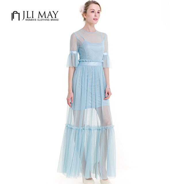 JLI MAY Women summer long dress half Flare Sleeve lace Ruffles Dot sexy  elegant party Evening Light Blue ladies maxi dresses ea92720c4dc6