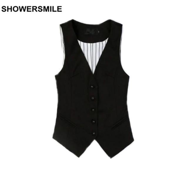 Women Working Vest Styles Black Formal V Neck Suit Vests Plus Size 3XL Gilet Spring Waistcoat Brand New Female Clothing