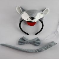 5 stks Volwassen Kids Animal 3D Wolf Hoofdband Vlinderdas Staart Set Party Coplay Kostuum Accessoires Nieuwjaar