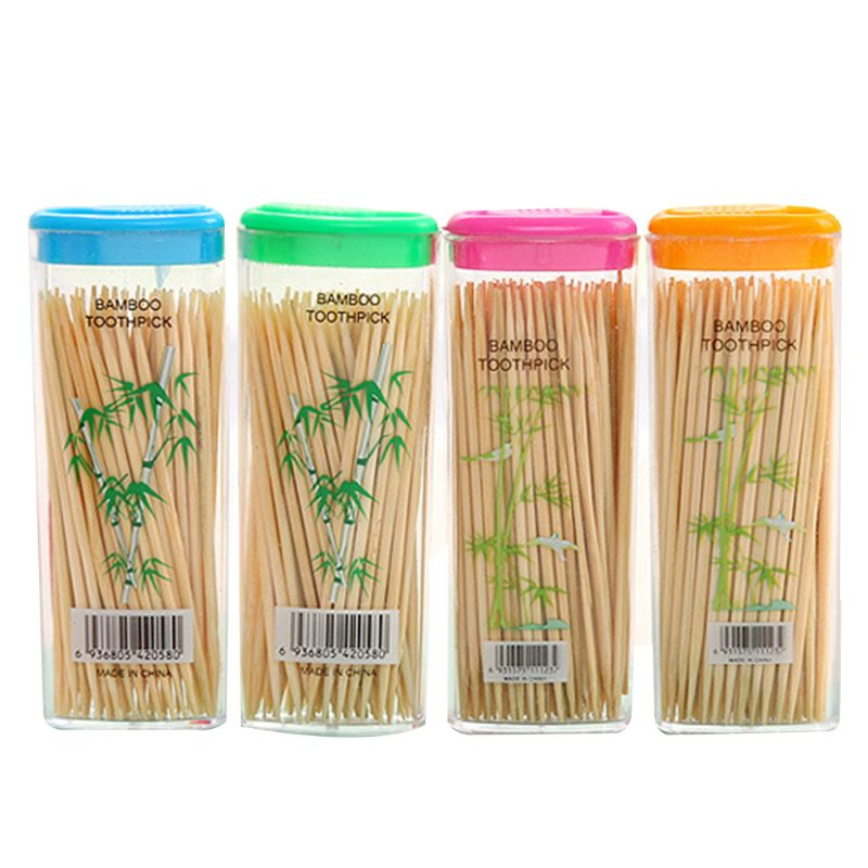 1 Box Disposable Premium Bamboo Wooden Cocktail Round Toothpicks Double Sided Travel Portable With Storage Box About 100Pcs