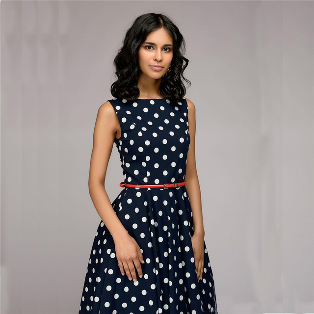 Polka Dot Dress 2018 New Summer Women Sleeveless O-neck Elegant Casual Boho Midi  Dress Vintage Party Dresses Plus Size db00b32dc