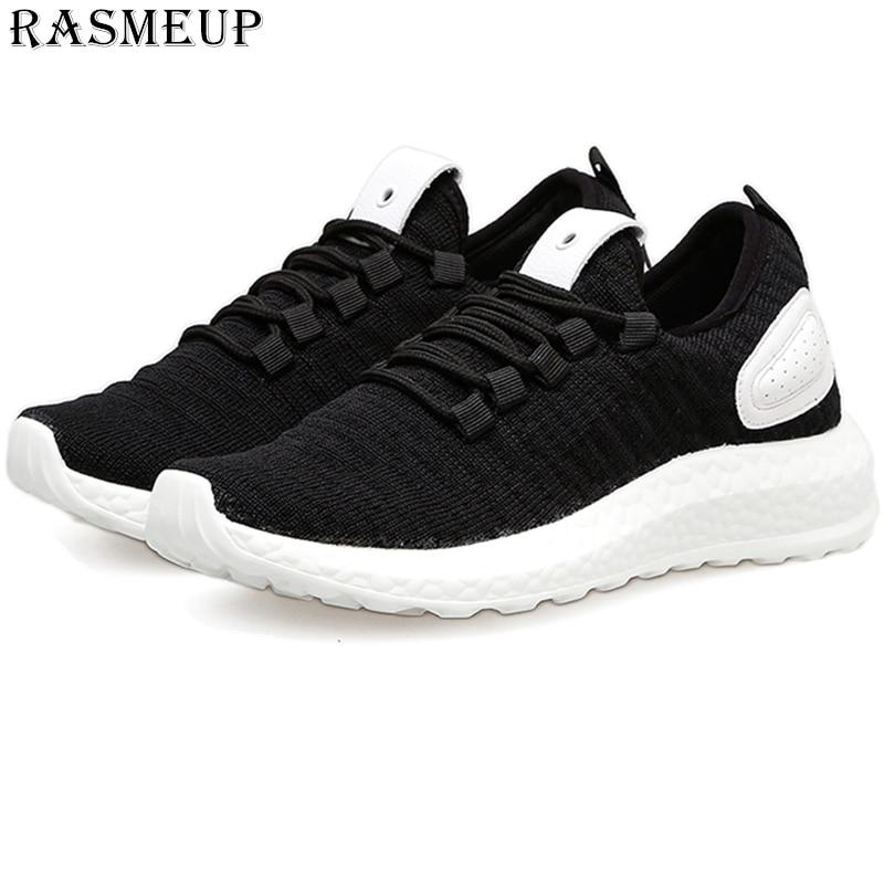 RASMEUP Plus Size 43 Women Men Lightweight Sneakers 2019 Summer Knit Breathable Women's Trainers Soft Couple Walking Shoes white