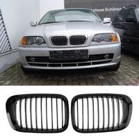 1 Pair Front Grille Bumper Hood Grill Grilles For BMW E46 Four Doors 98 01 Car