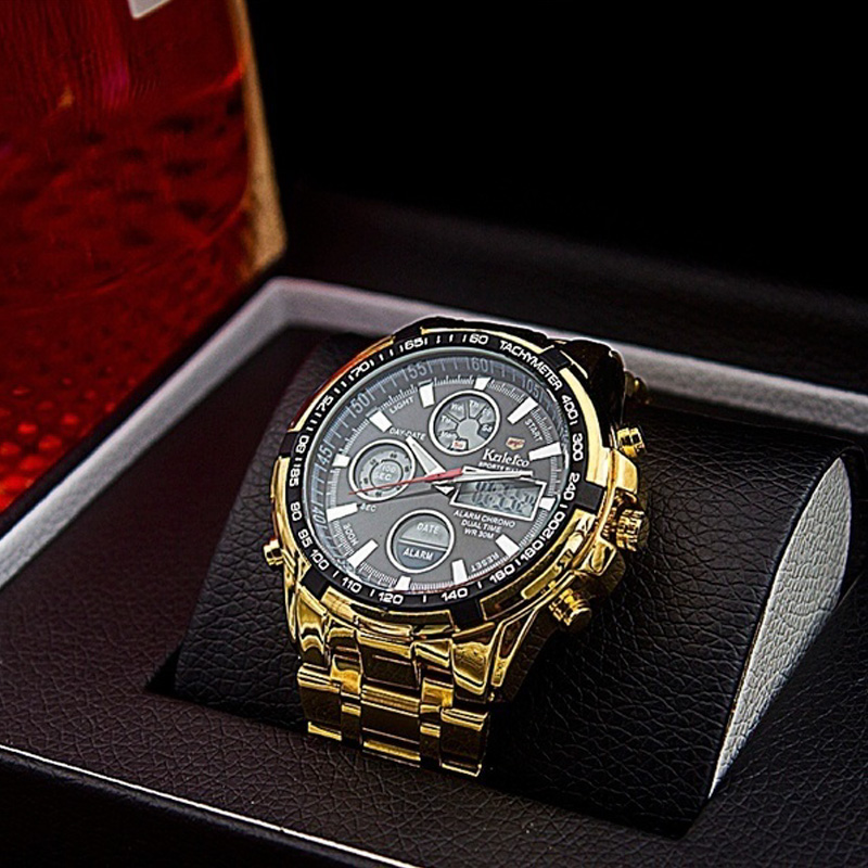 Mens Gold Skeleton Mechanical Watch Stainless Steel Metal Strap Watches Quartz Business Wristwatch Waterproof Watch Dual Display