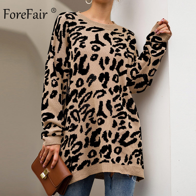 Forefair Leopard Casual Oversize Sweater Woman Autumn 2019 Winter Knitted Animal Print Plus Size Loose Long Sweaters Women