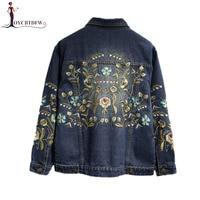Spring Women Embroidery Flowers Plus Size 5XL Short Denim Jacket parkas 2018 Autumn Female Outwear Fashion Bomber Denim coats