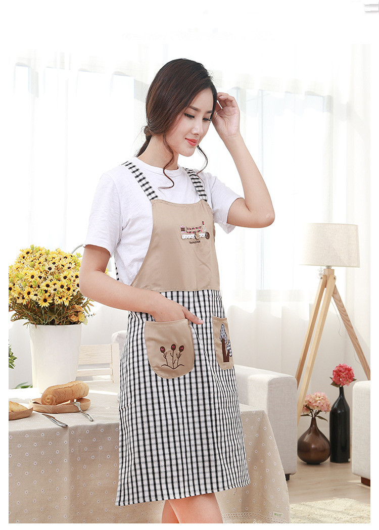 Clocks Embroidery Strap Home Happy Tree Aprons Kitchen Anti-oil Pollution Fashion Linen Three Trees Apron Women Necessary 1pcs New 2016 Power Source