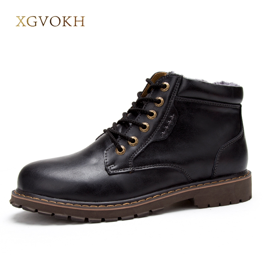Men shoes Motorcycle Boots 100% Real Leather Boots XGVOKH Fashion Black Shoes Winter Mens Ankle Boots Warm boot With Fur xiaguocai new arrival real leather casual shoes men boots with fur warm men winter shoes fashion lace up flats ankle boots h599