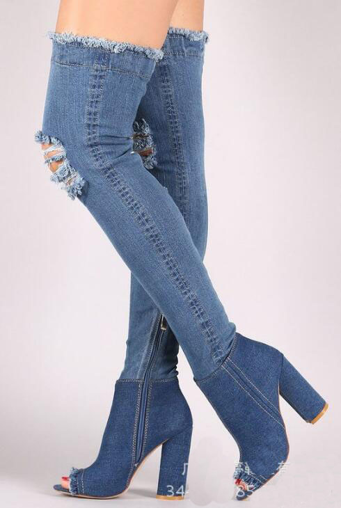 3Stil Stiefel 1Stil Toe Fersen Dem Starke Hohe Denim er Auf Spur 2Stil Weibliche Peep Ausschnitte Styel Knie Jeans Sexy Hei 4Stil 5 Verkauf 2019 Oberschenkel qUVLSMpGz