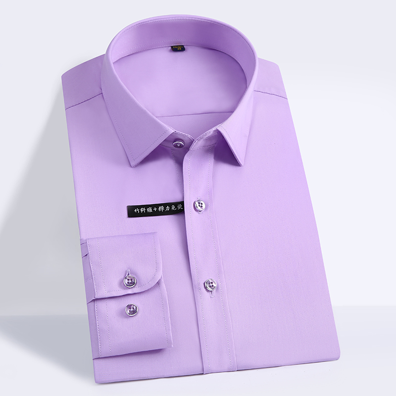 High Quality Classic Style Bamboo Fiber Men Dress Shirt Solid Color Men's Social Shirts Office Wear Easy Care(Regular Fit) 6