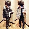 Desgaste de los niños de Invierno Nueva Corea Muchachas de Los Cabritos de la Chaqueta de Algodón Acolchado Cálido Abrigo de Piel de Moda Rojo Gris Negro