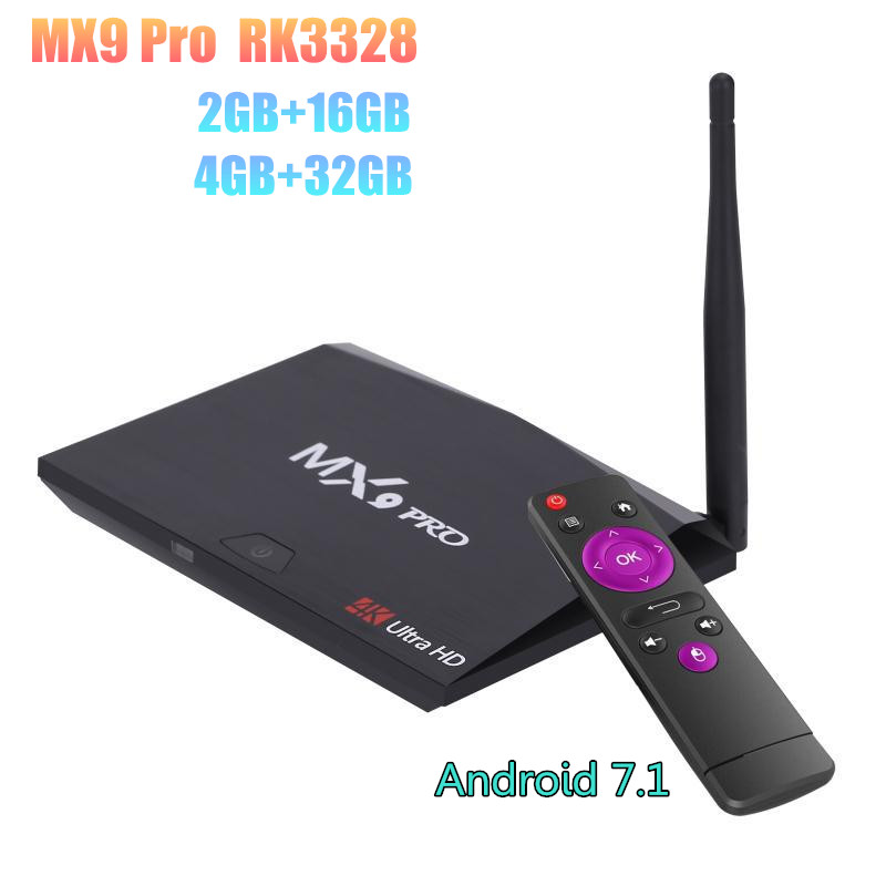 цена 2GB/16GB 4GB/32GB MX9 Pro Android 7.1 Smart TV Box RK3328 Quad-Core 2.4G WiFi BT4.0 Set-top box H.265 VP9 HDR 4K HD Media Player онлайн в 2017 году