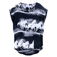 2015 Summer European American Fashion T Shirt Horses Printed Loose Tee Shirt Femme All Match Plus