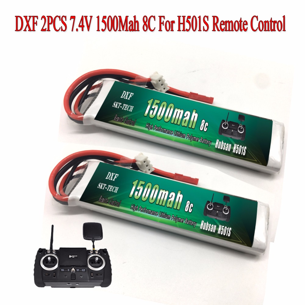 DXF 2 stücke 1500 mah 8C 7,4 v Batterie für Hubsan X4 PRO sender/H109S/H501S/H502S /H301S fernbedienung FPV1 H906A Batterie