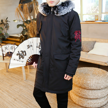 Parkas Men Fashion Winter Jacket Men Thermal Hooded Thicken Warm Coat Casual Men Fur Dragon Embroidery Cotton-padded Clothes