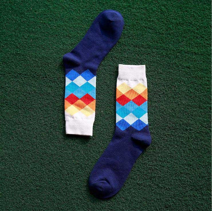 10 Pairs/Lot  Men's socks British Style Plaid calcetines Gradient Color brand elite long cotton for happy men wholesale socks