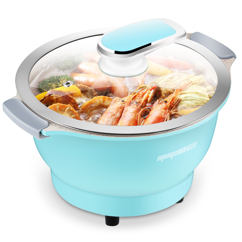 Mini Electric Hot Pot Home Multifunctional Non Stick Rice Noodle Cooker 600w Small Aluminum Alloy Electric Bowl For 2-3 Peoples cukyi 110v 450w multifunctional electric boiler student dormitory pot noodle electric kettle hot pot 1 2l
