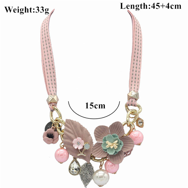 Olaru Brand Korea New Jewelry Fashion Cloth Imitation Flower Pearl Choker Neckalce Woman Maxi Statement Necklace Accessories 5