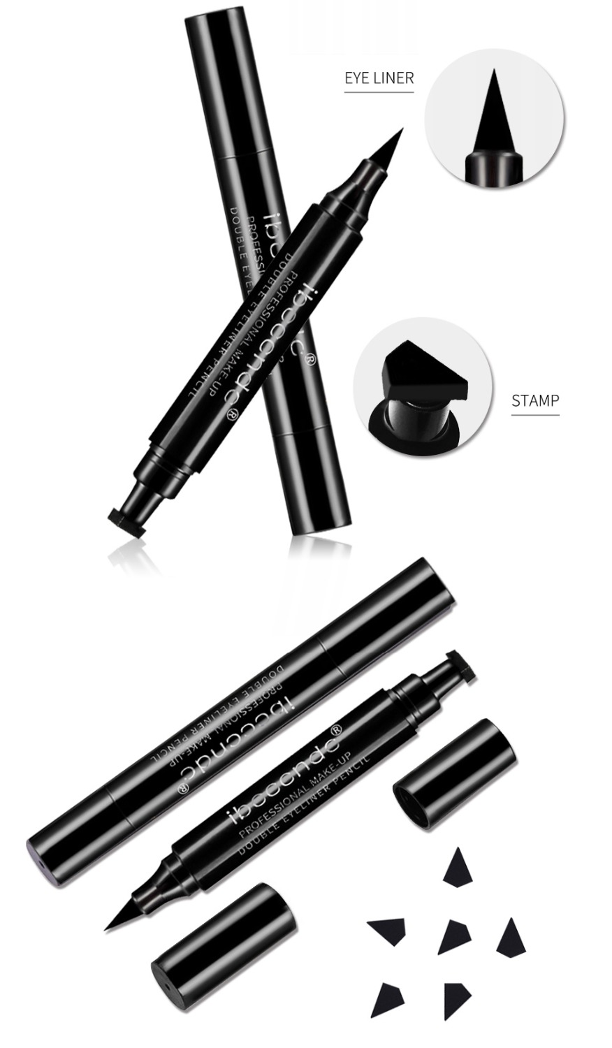 IBCCCNDC Brand Makeup Black Eye Liner Liquid Pencil Quick Dry Waterproof Black Double ended Makeup Stamps Wing Eyeliner Pencil