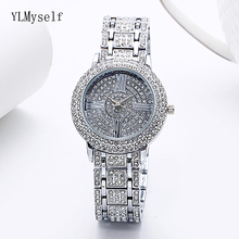 Luxury Expensive Sparkly full Shiny Crystal Quartz Watch White and Gold color Excellent Big Watches for Women