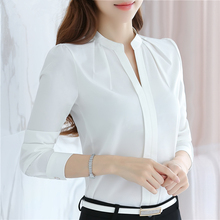 New 2017 Long sleeve chiffon women blouses shirts tops wing collar causal  solid white fashion dress 881B