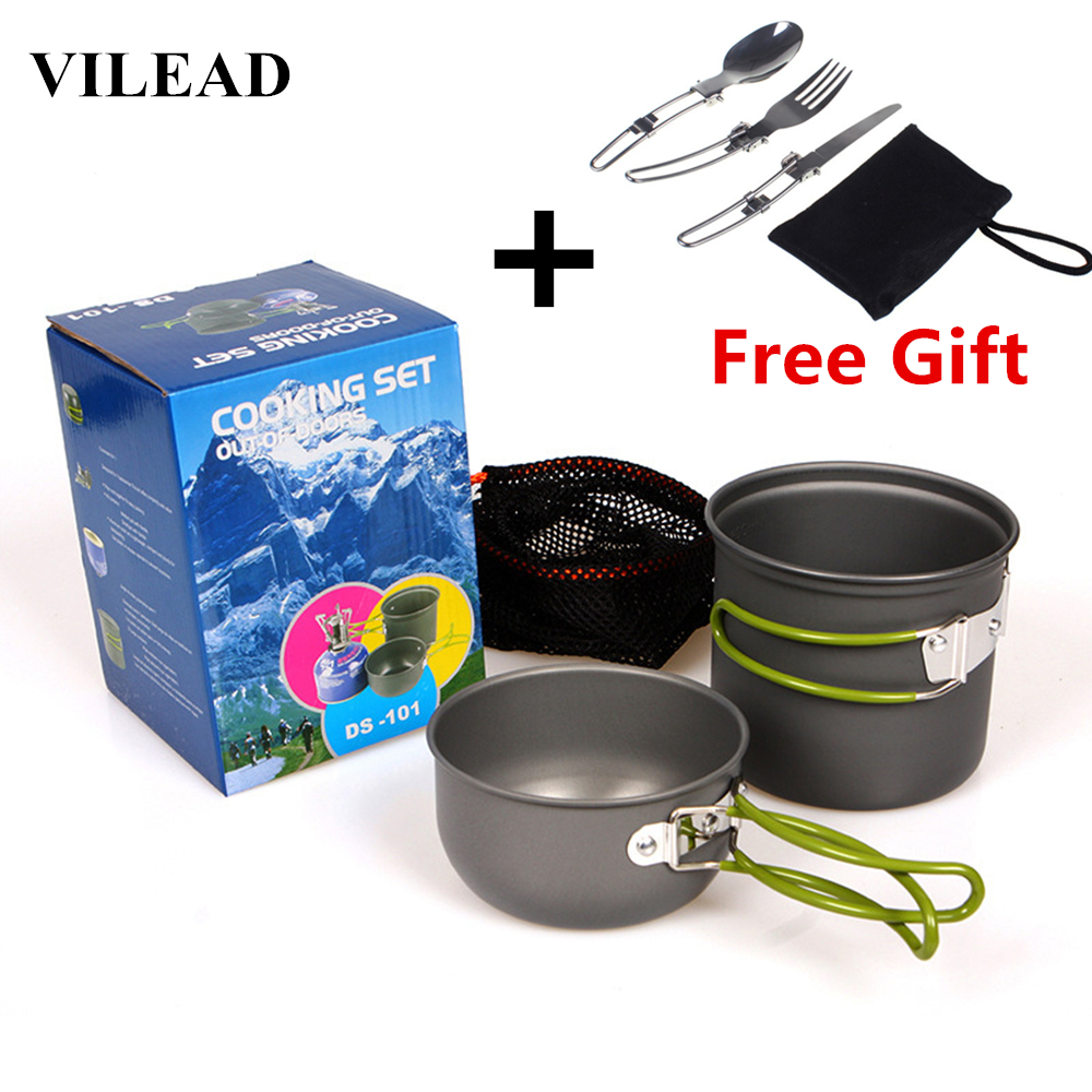 VILEAD Portable Outdoor Tableware Camping Hiking Travel Utensils Picnic Cookware Bowl Pot Pan Set for 1-2 People Free Tableware ...