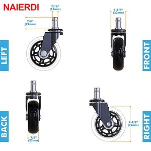 """Image 2 - 5 adet NAIERDI 3 """"evrensel dilsiz tekerlek ofis koltuğu tekerleği değiştirme 60KG döner kauçuk yumuşak güvenli silindirleri mobilya donanım"""