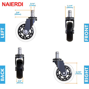 """Image 2 - 5PCS NAIERDI 3"""" Universal Mute Wheel Office Chair Caster Replacement 60KG Swivel Rubber Soft Safe Rollers Furniture Hardware"""
