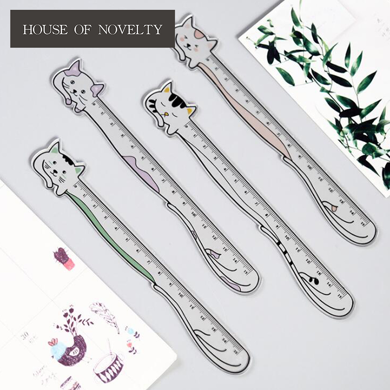15cm Lying Lazy Meow Ruler Measuring Straight Ruler Tool Promotional Gift Stationery