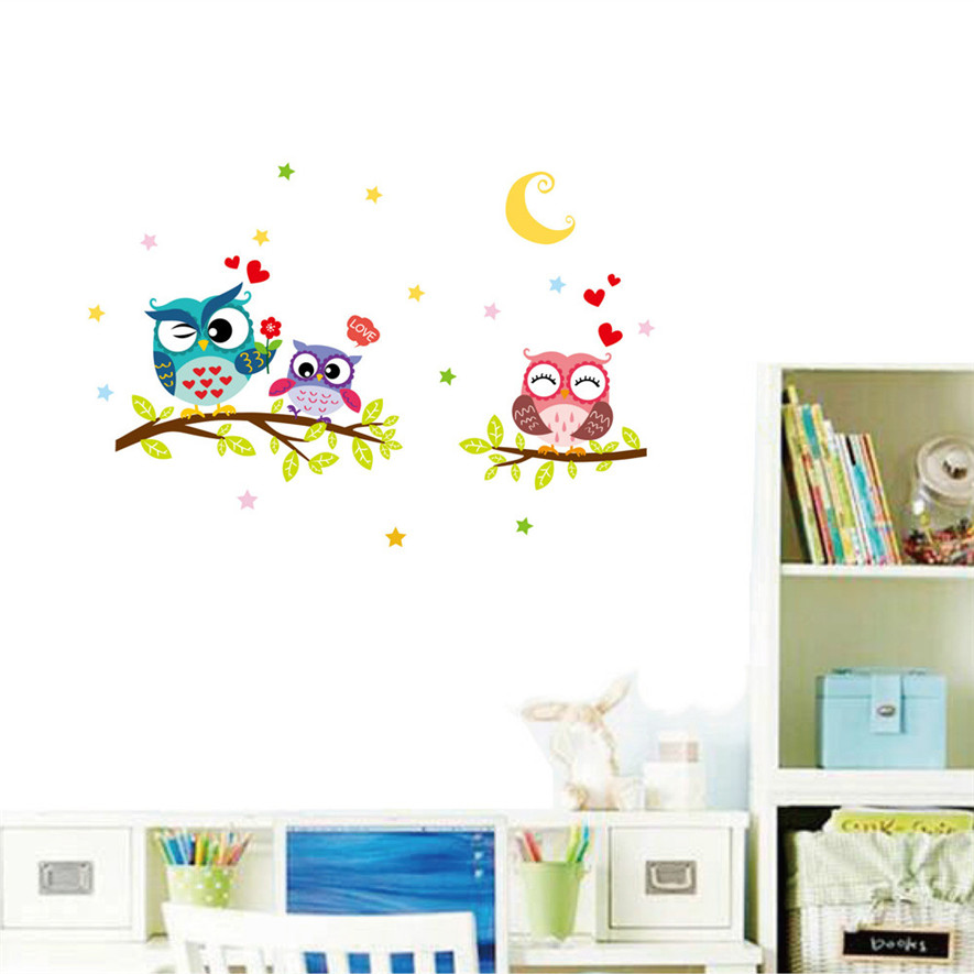 New Arrive Removable Waterproof Cartoon Animal Owl Wall Sticker For Kids Rooms Home Decor Poster Hot Sale