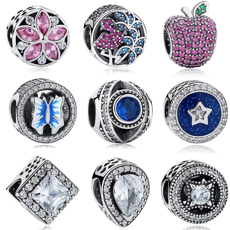 14f474797877 ... canada fit original pandora encanto pulsera plata 925 flor manzana nudo  corazón clover beads cristal charms