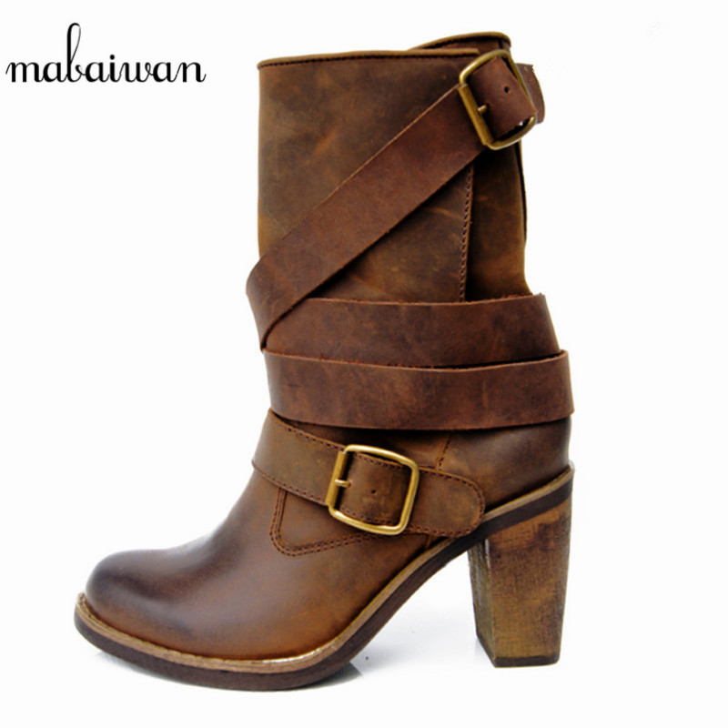 Mabaiwan 2017 Brown Genuine Leather Winter Women Boots High Heels Flat Shoes Women Booties Militares Mid Calf Martin Boots Pumps 2018 new vintage mid calf women boots square thick high heels pointed toe martin boots genuine leather winter shoes for women