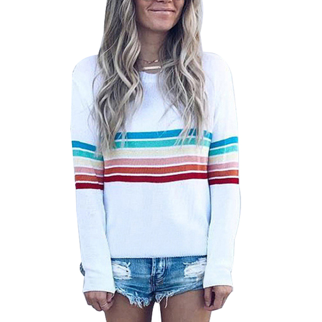 14ab8c3a6ba Striped Sweatshirt Women Rainbow Pullover 2018 Autumn Winter Fashion Top  Sweatshirts Long Sleeve Plus Size 4XL Hoodie Tracksuit