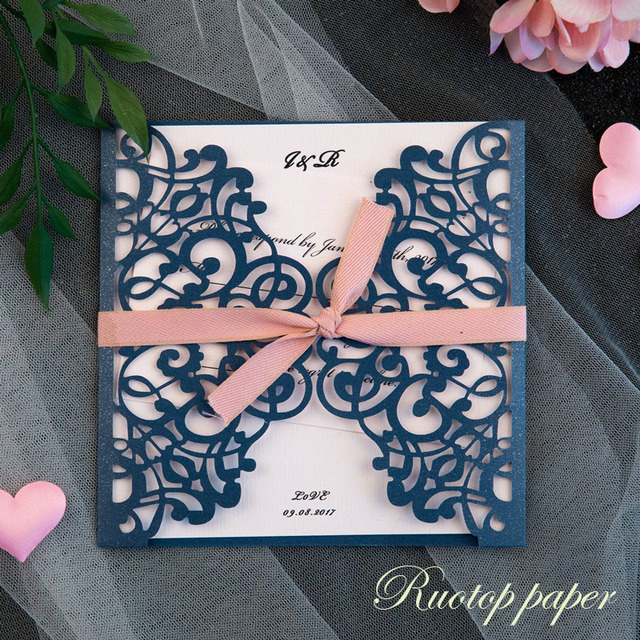 50pcs Dark Navy Blue Wedding Invitations Card Pearl Paper