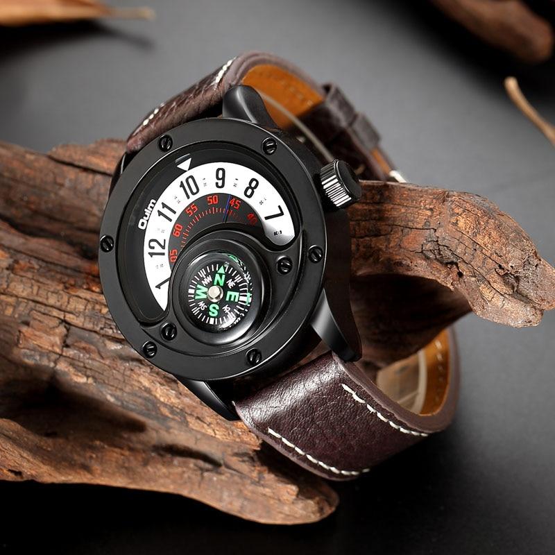 e3afdd1b66a0 Cheap Oulm nuevo deporte relojes de los hombres de la marca de lujo  decorativo brújula creativo