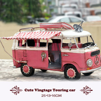 Old fashion Handmade Classic car Vintage Touring car model Cold rolled Metal motor home Action Figure toys pink house car gift