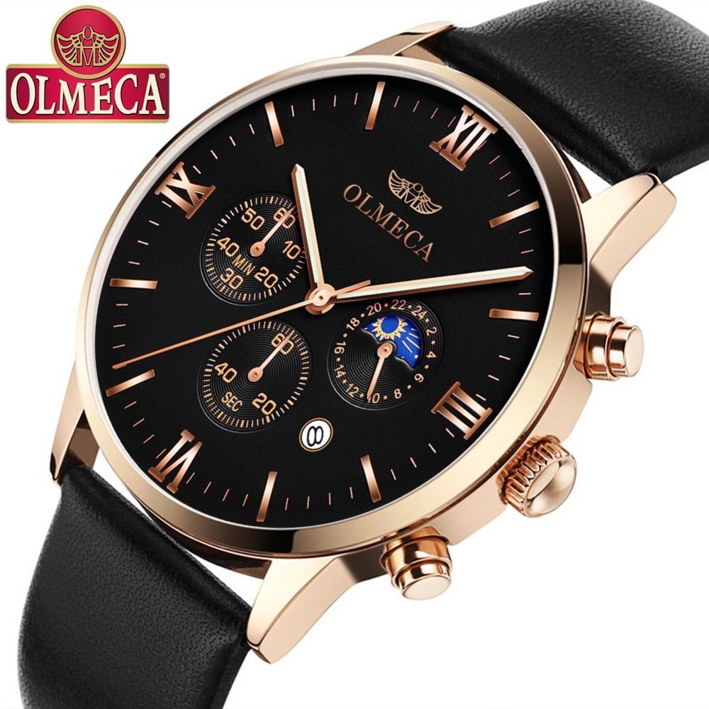 2019 Business Top Brands Men watches Multi-functional Watch Leather Mens sports Watch Rose Gold  Sun moon quartz Wrist Watches 2019 Business Top Brands Men watches Multi-functional Watch Leather Mens sports Watch Rose Gold  Sun moon quartz Wrist Watches
