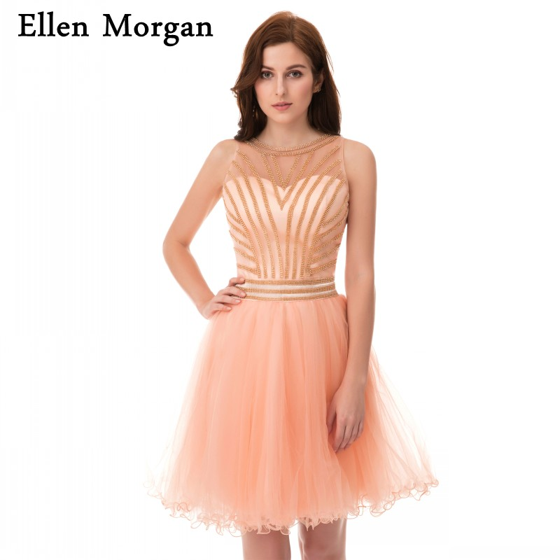 Sexy Back Short   Cocktail     Dresses   Transparent Mini Tulle Back to School Graduation For Girls 2019 Homecoming Party Prom Gowns