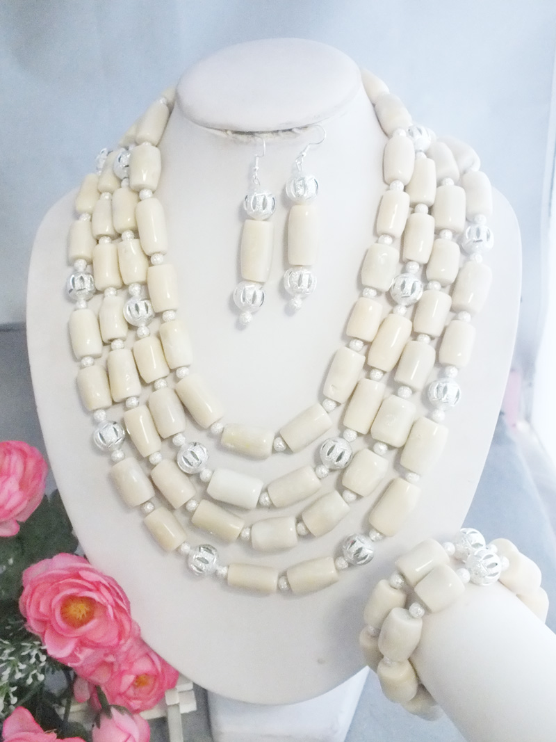 Z 5541 Newest Arrival Handmade African White Coral Beads Jewelry Necklace For Wedding