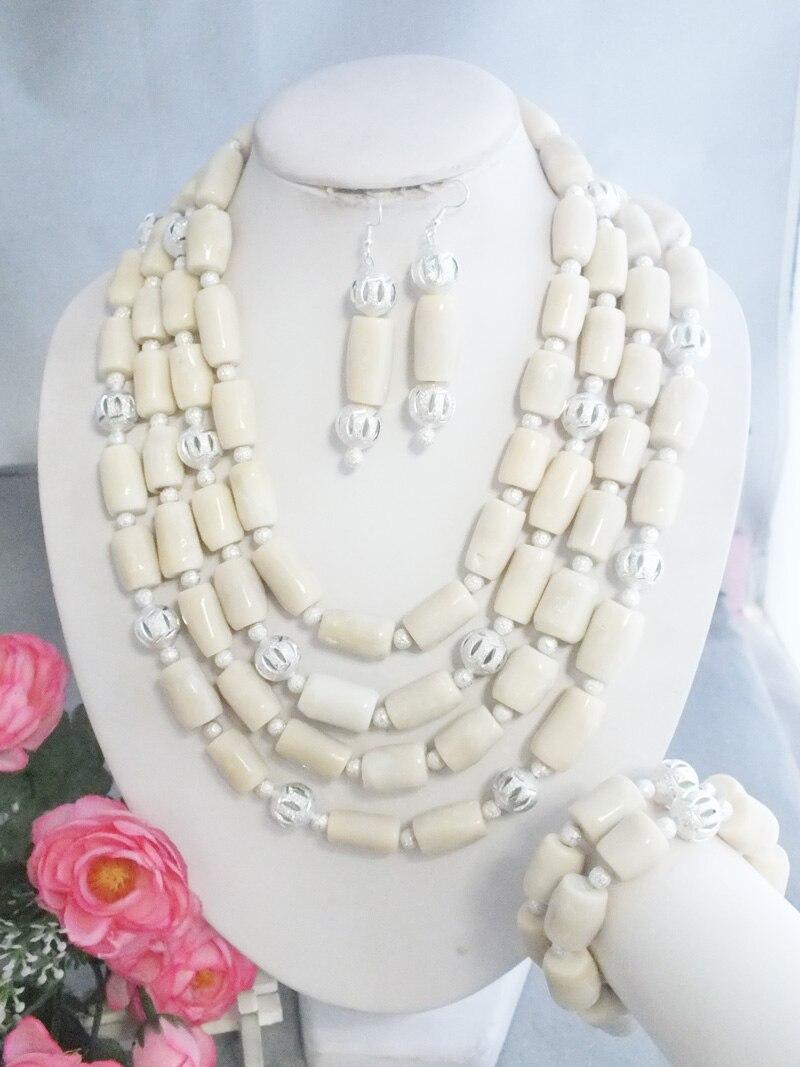 Z 5541 najnowszy przyjazd Handmade afryki biały biżuteria z korali naszyjniki na ślub w Zestawy biżuterii od Biżuteria i akcesoria na  Grupa 1