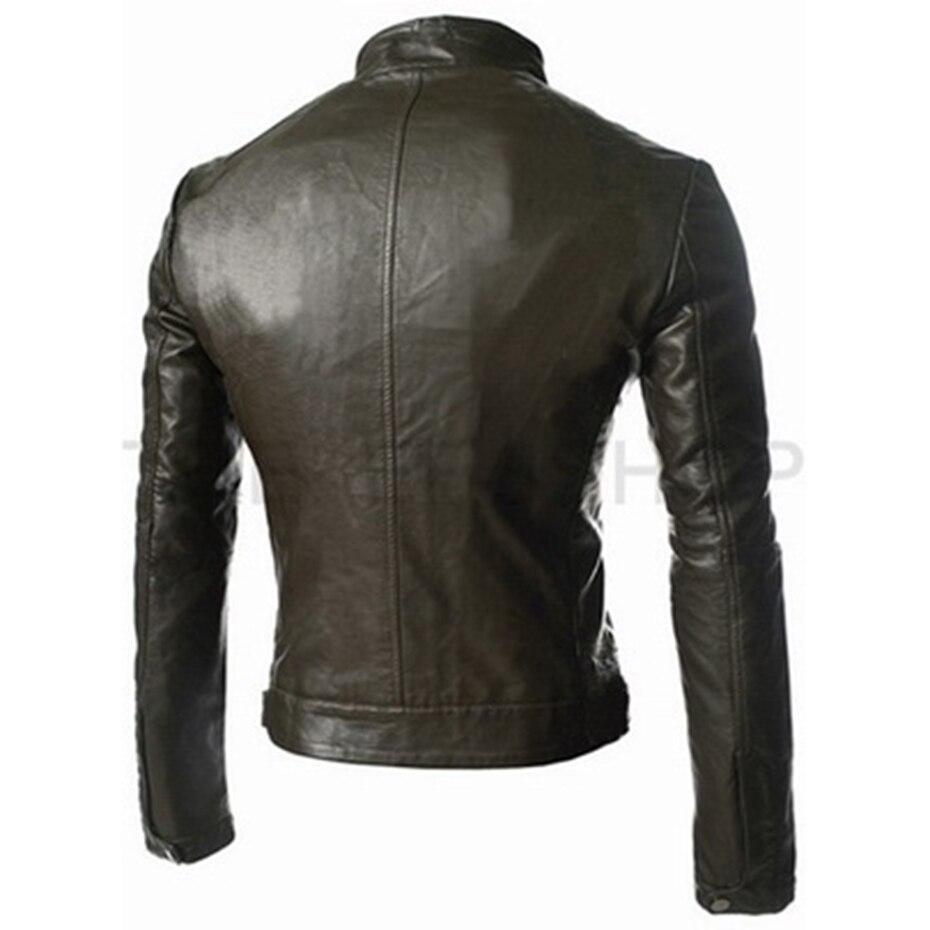 Zogaa hommes veste en cuir hommes vêtements 2018 nouvelle coupe poche courte style slim vestes en cuir manteau décontracté col montant pardessus - 3