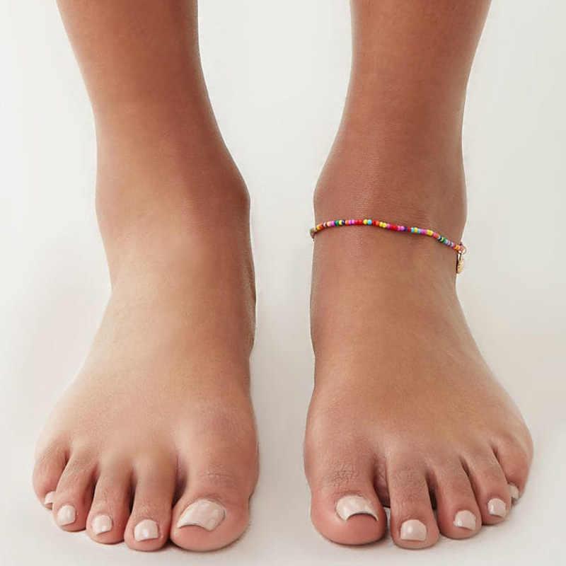 Богемные ракушки бусины из камня женские браслеты для щиколотки винтажный Плетеный веревка кулон браслет на ногу ножной браслет пляжные украшения для лодыжки новый подарок