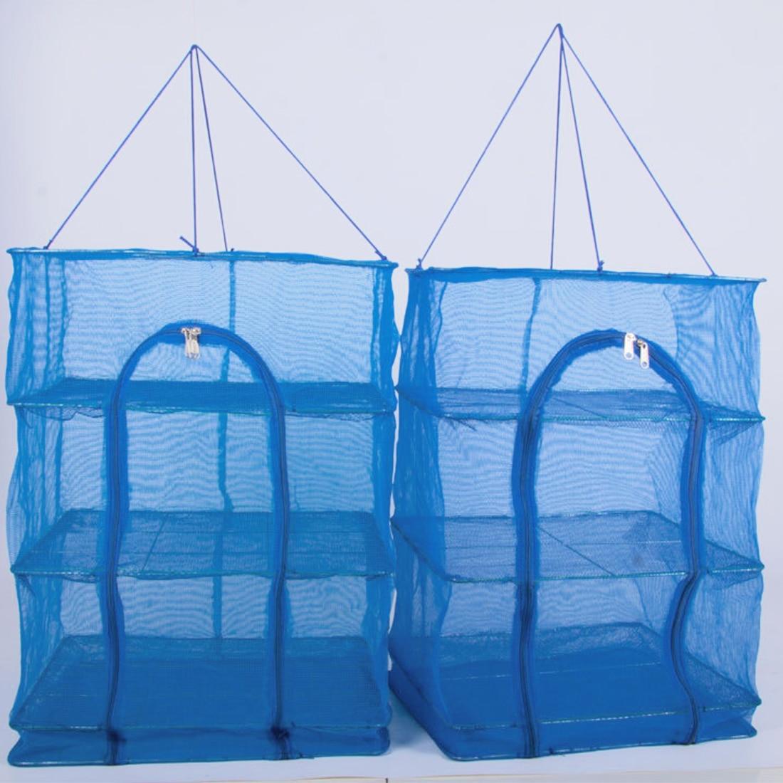 New Foldable 3 Layers Drying Net Fish Net Drying Rack Hanging Vegetable Fish Dishes Dryer Net 40 x 40 x 68cm PE Hanger Fish Net