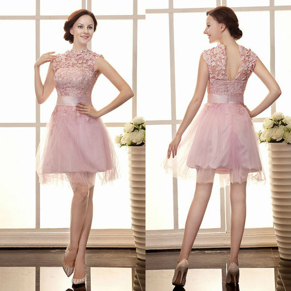 2014 Elegant Lace Party Prom Dresses New Arrival Beading Net Short ...