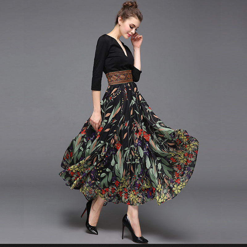 New Arrival 2018 Womens Sexy V Neck 3/4 Sleeves Printed Patchwork A Line Elegant Designer Casual Fashion Dresses