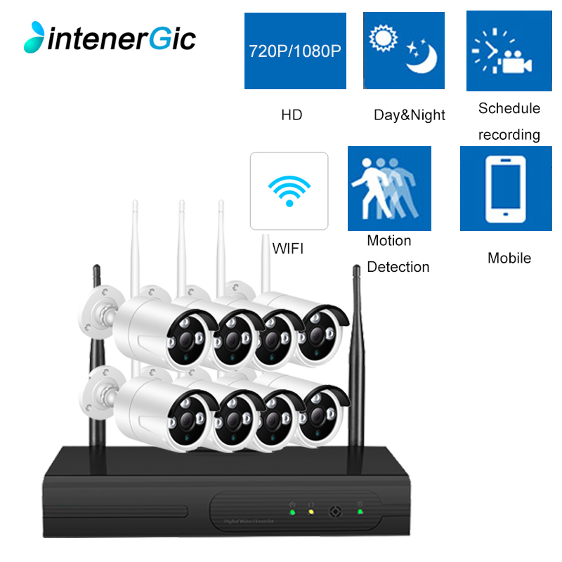 INTENERGIC CCTV Camera System Wifi 720P/1080P NVR Kit 8CH IP Camera Audio Record Outdoor Night Vision Security Camera SystemINTENERGIC CCTV Camera System Wifi 720P/1080P NVR Kit 8CH IP Camera Audio Record Outdoor Night Vision Security Camera System