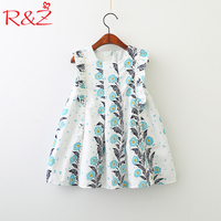 R Z Baby Girls Dresses 2018 Summer New Cotton Korean Sleeveless Ruffles Floral Print Vest Dress