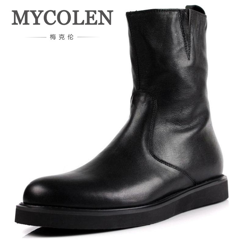MYCOLEN Black Mens Boots Genuine Leather Motorcycle Boots Fashion Mens Winter Rain Boots Men Casual Shoes Winterschuhe Herren