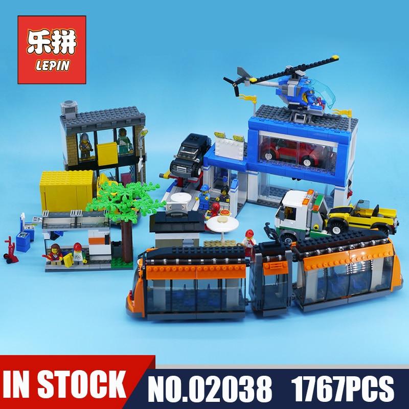 lepin New City Blocks 02038 the City Square Car Lift Tram Building Blocks Bricks Compatible 60097 Toys for Children Christmas